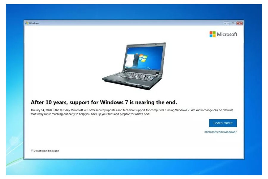 Fine del supporto Microsoft per Windows 7
